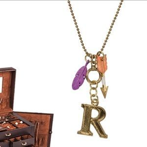 "Monogram Letter ""R"" Charm Necklace on 30"" Chain"